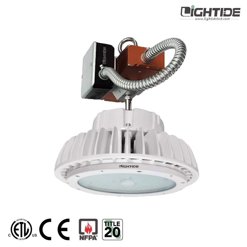 Lightide-white-UFO-emergency-battery-backup-led-high-bay-light